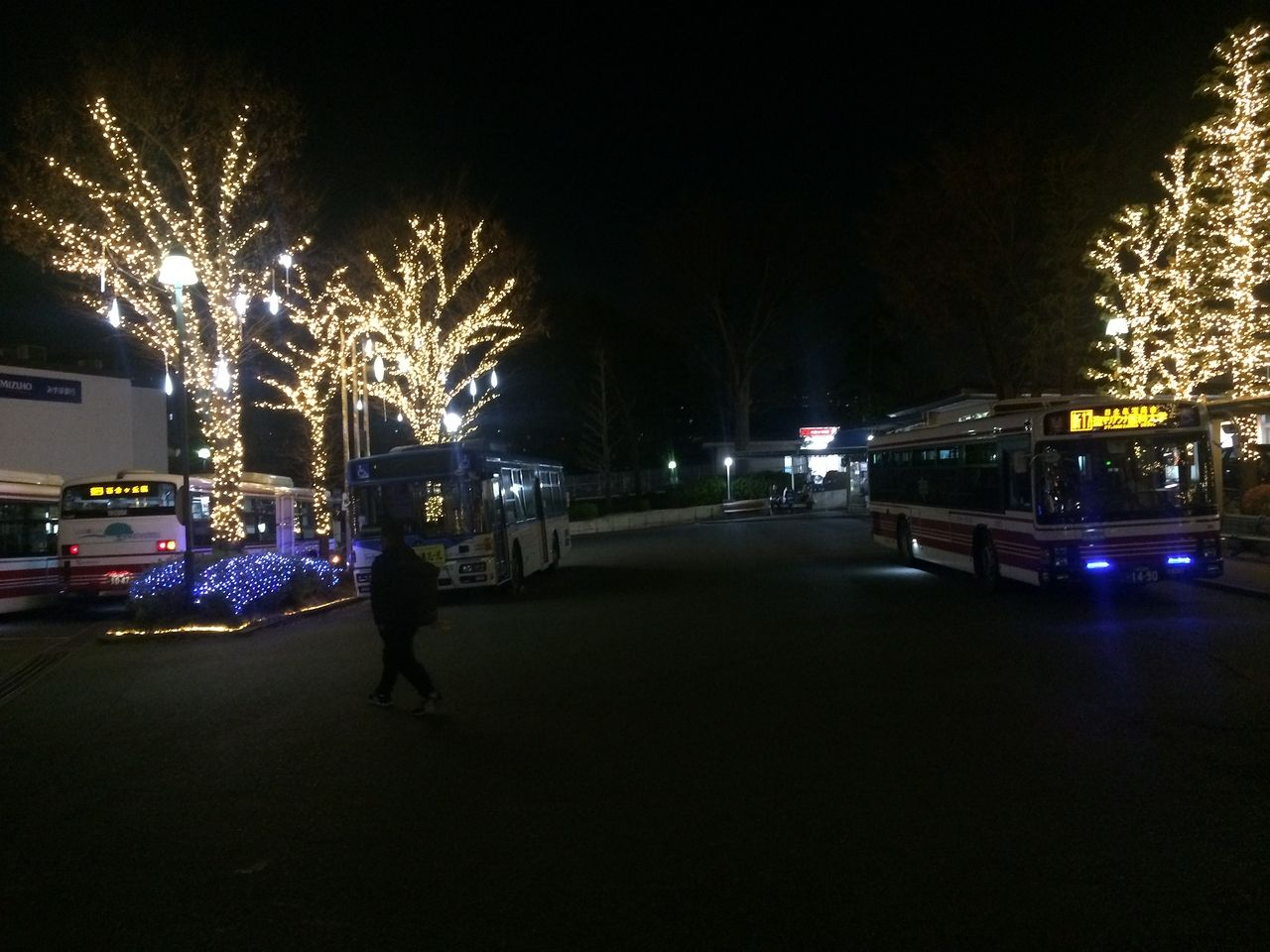 聖マリアンナ病院のバス乗り場のクリスマス・イルミネーション