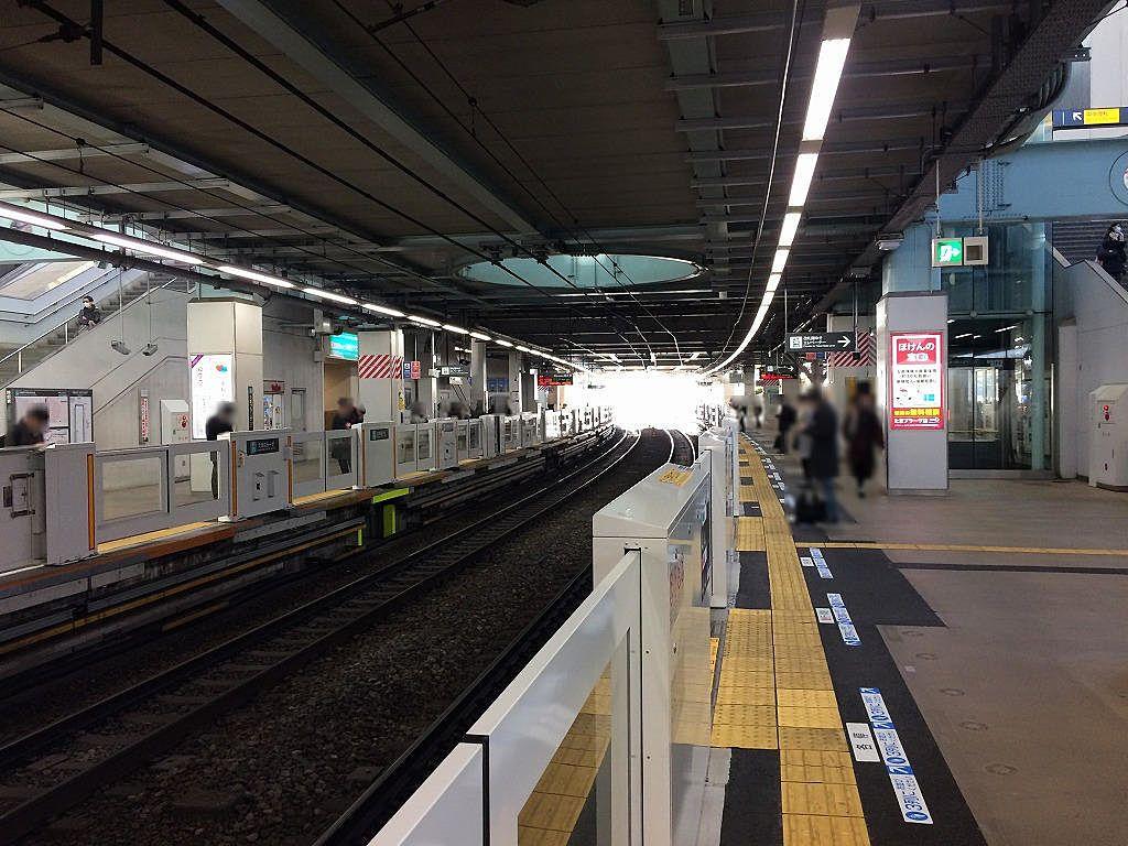 たまプラーザ駅のホームドアー(下り/あざみ野・青葉台方向の様子です。)≪2019年2月2日(土)≫