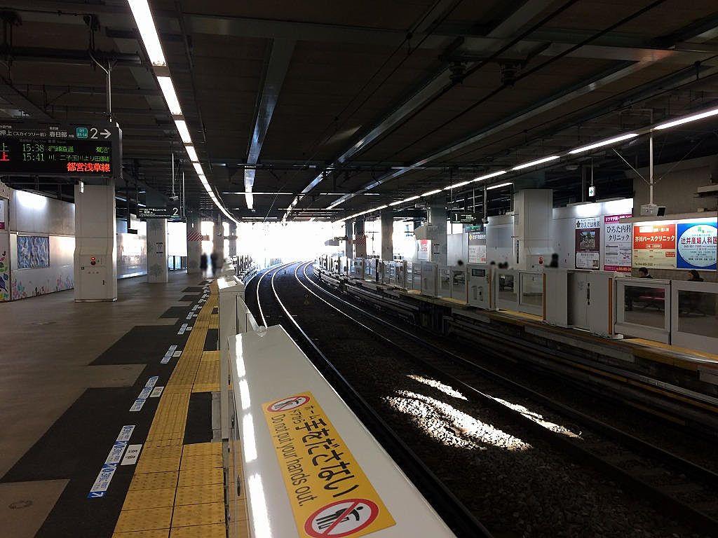 たまプラーザ駅のホームドアー(上り/鷺沼方向の様子です。)≪2019年2月2日(土)≫