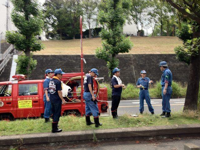 2013年たまプラーザ夏まつり 消防団の水撒き