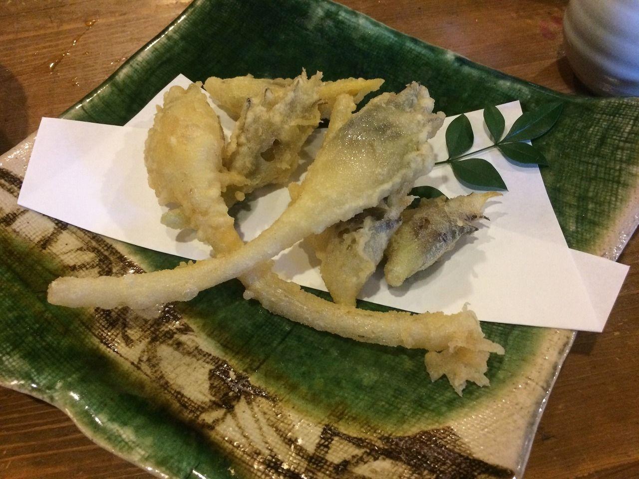 蕎麦屋さん「丹三郎」の「みょうがの天ぷら」