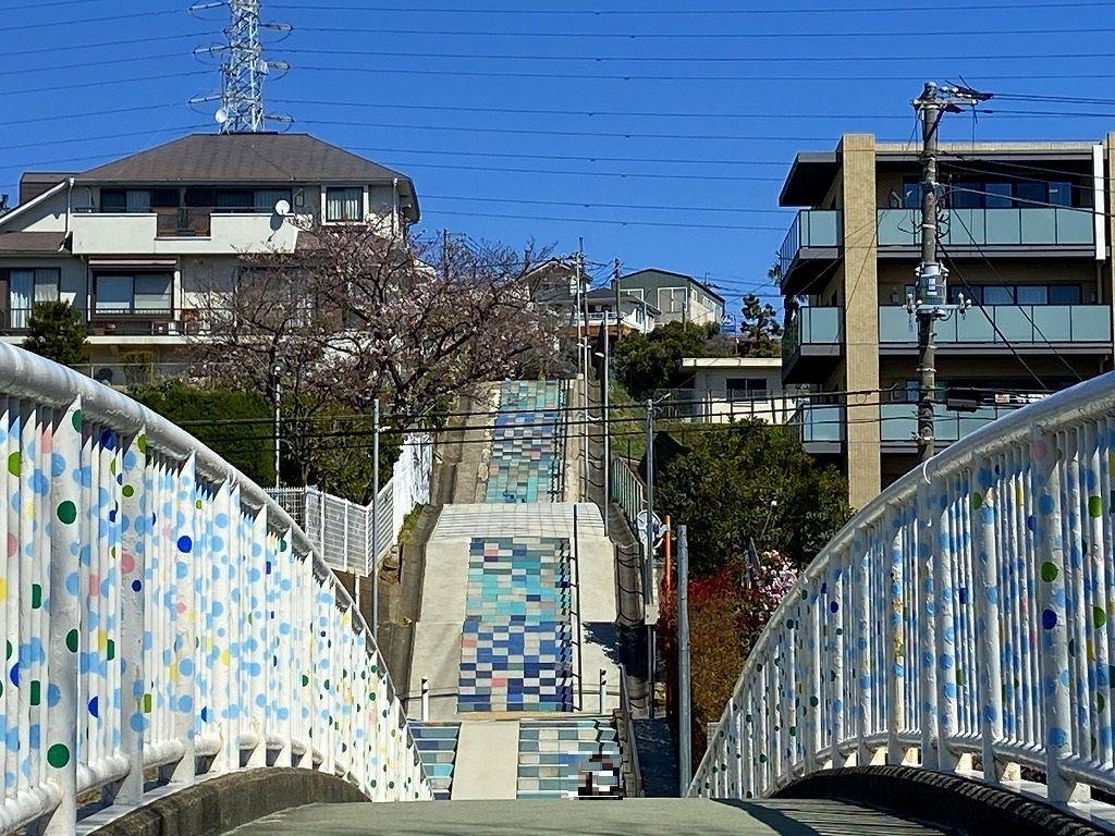 美しが丘小学校下の「100段階段」