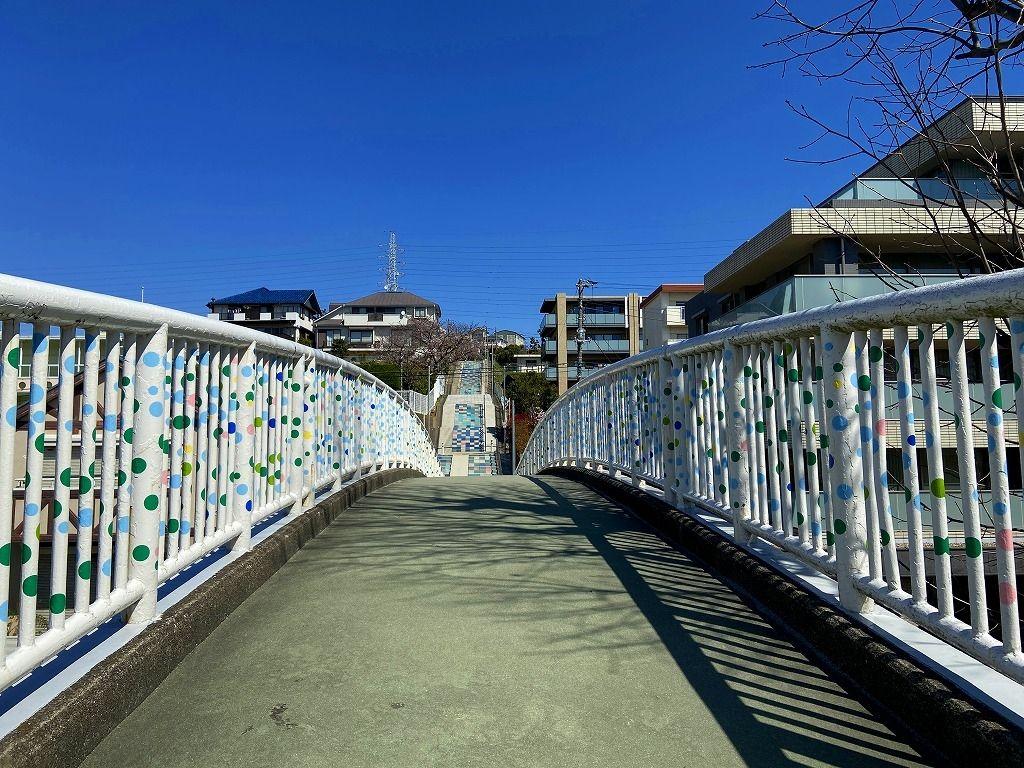 地域の皆様の協力により完成した美しが丘小学校下のたまプラーザの「100段階段」の様子です。国学院幼稚園へも行けます。